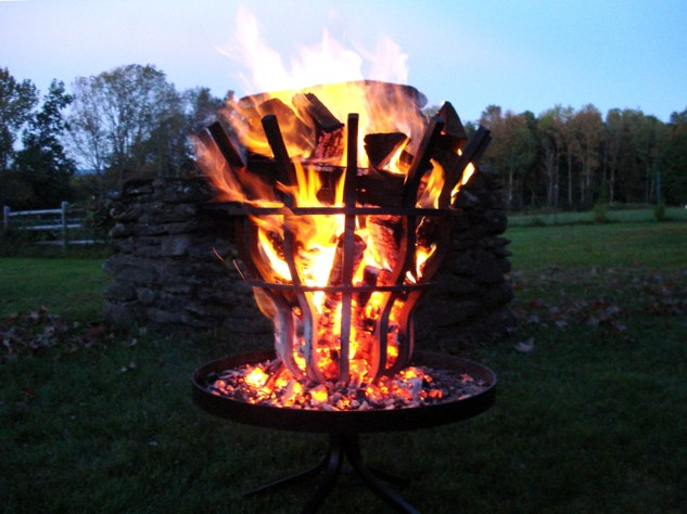 Outdoor fire pit shown