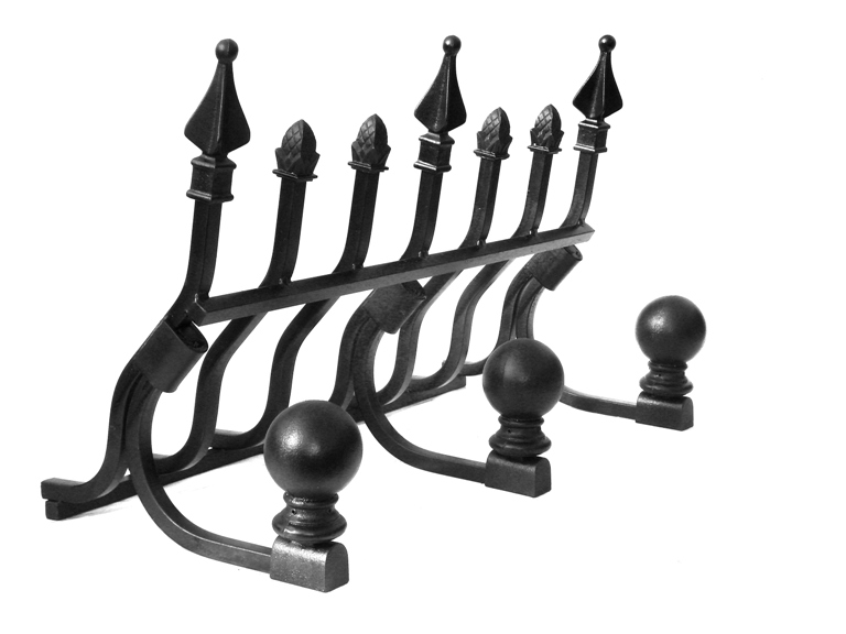 Decorative M-7 Wall of Fire fireplace grate shown