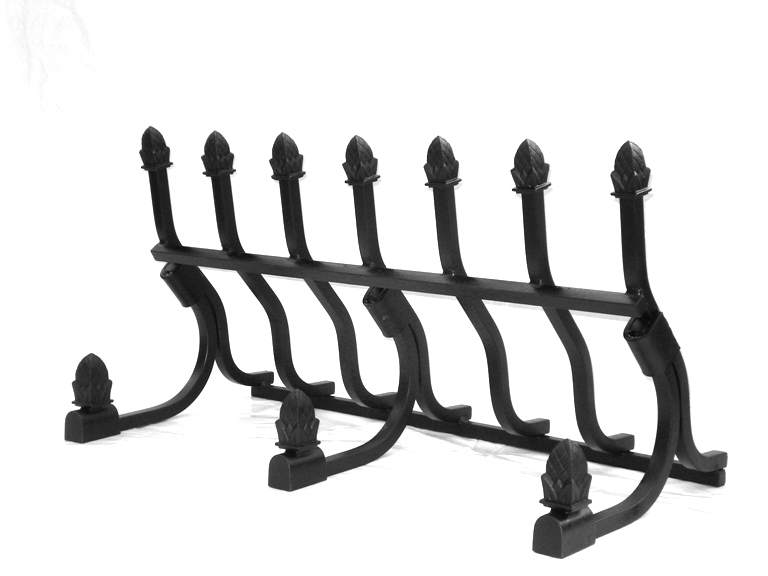 Several decorative fireplace grate combinations are possible.